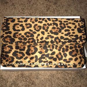 Handbags - Leopard print clutch w gold embellishment & Chain